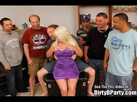 Big tittied blonde milf Clarissa finds cock at Dirty D's bukkake party