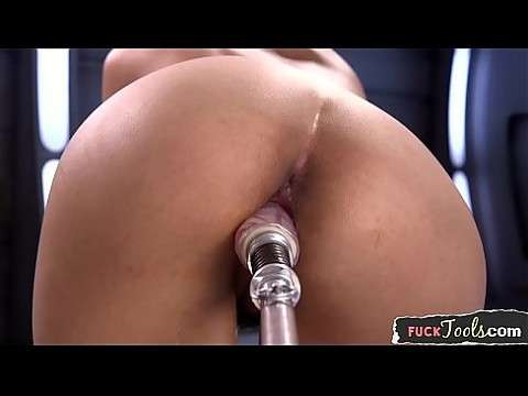 Busty arab machine fucked during her solo