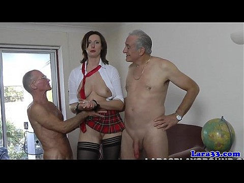 Stockings milf in threeway facialized