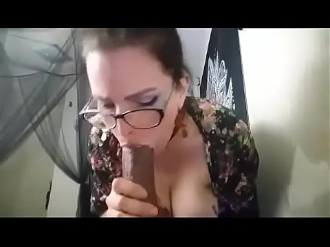 Camgirl Sucks Huge BBC Dildo with Vibrator on in Panties