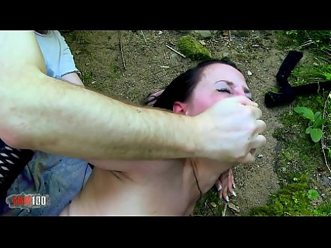 Fucking the dirty sex slave in the woods and destroying her ass