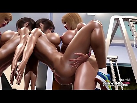 Fitness futa babes having sex in a gym